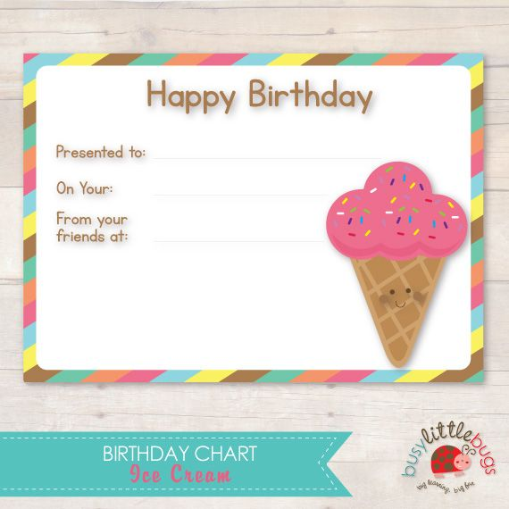 Ice cream birthday chart with certificate for the child also rh pinterest
