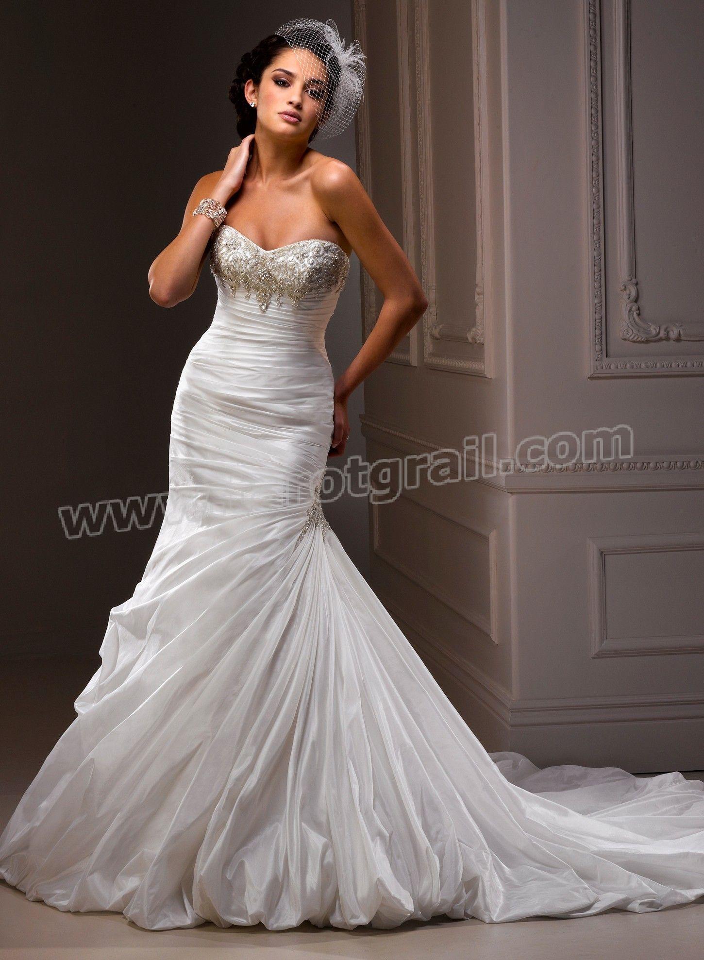 Bordeaux Taffeta Strapless Neckline Fit And Flare A-line Wedding Dress