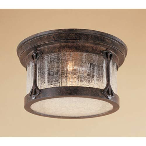 Canyon Lake Chestnut Two Light Outdoor Flush Mount