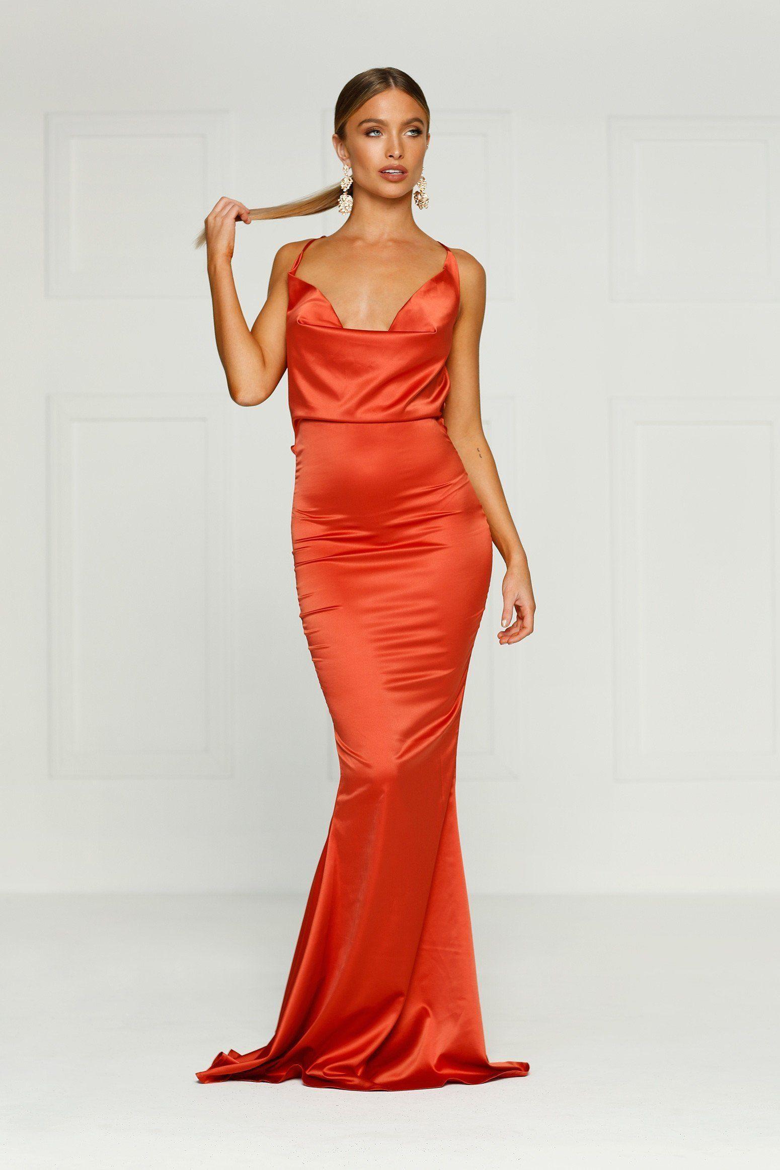 Crisantemi Rust Satin Dress With Cowl Neckline And Low Back Rust Dress Dresses Dazzling Dress