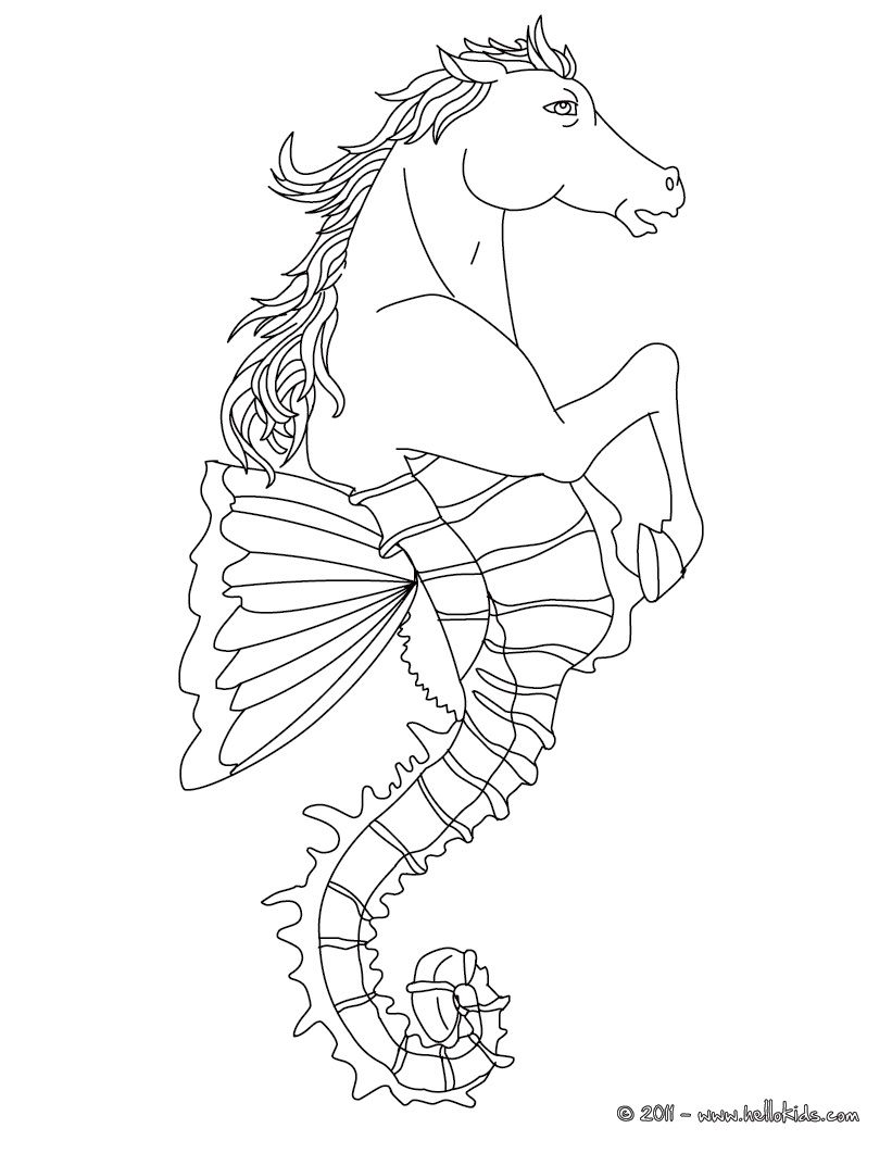 Hippocampus The Half Horse And Half Fish Creature Coloring Page Monster Coloring Pages Dragon Coloring Page Puppy Coloring Pages