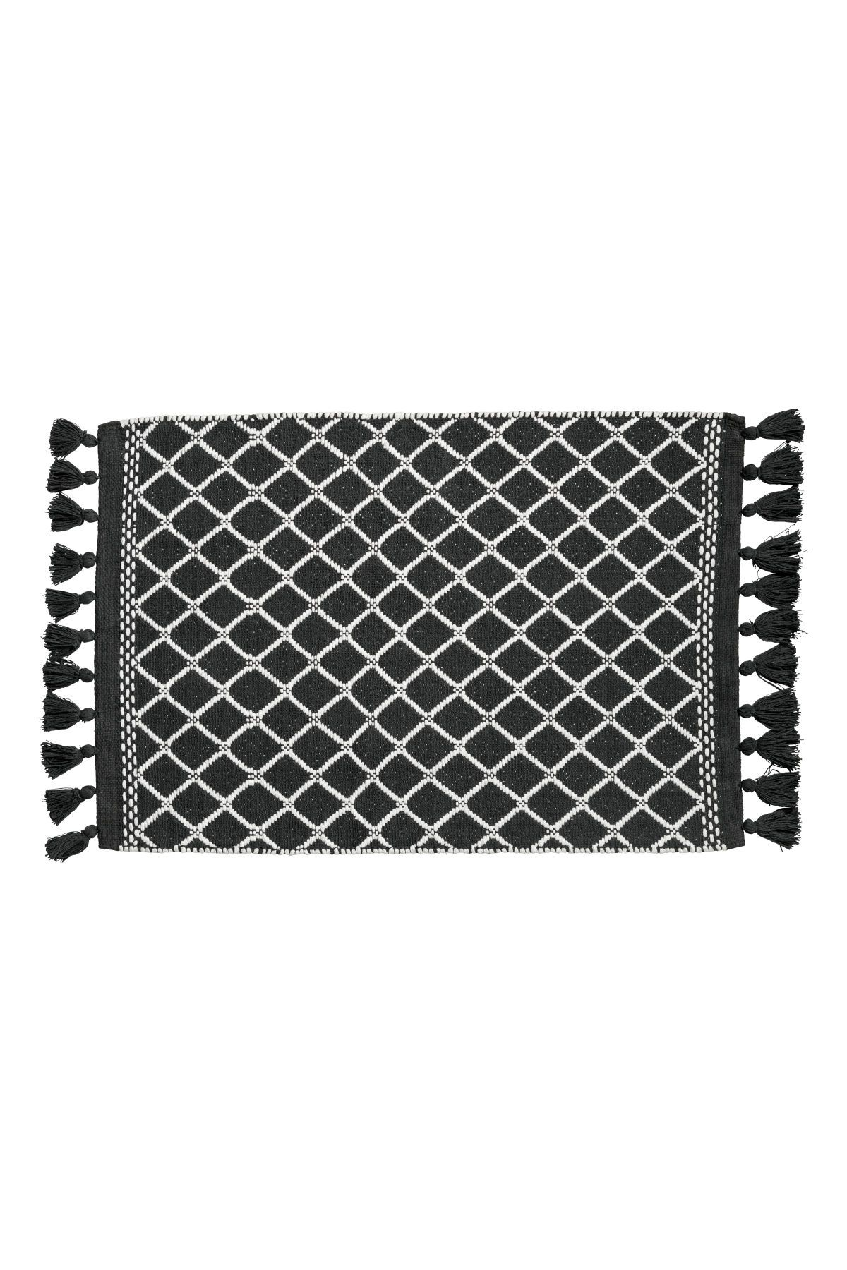 Badematte H&m Charcoal Gray White Bath Mat In Jacquard Weave Cotton Fabric