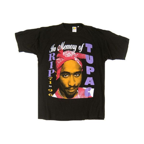 37e42172d VIntage Tupac Shakur 2Pac In Memory Of T-Shirt ($19,500) ❤ liked on  Polyvore featuring tops, t-shirts, distressed t shirt, vintage tees,  destruction t ...