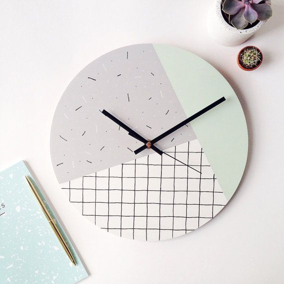 Modern Wall Clock Mint Green Grey White Memphis Inspired Modern Geometric Home Decor