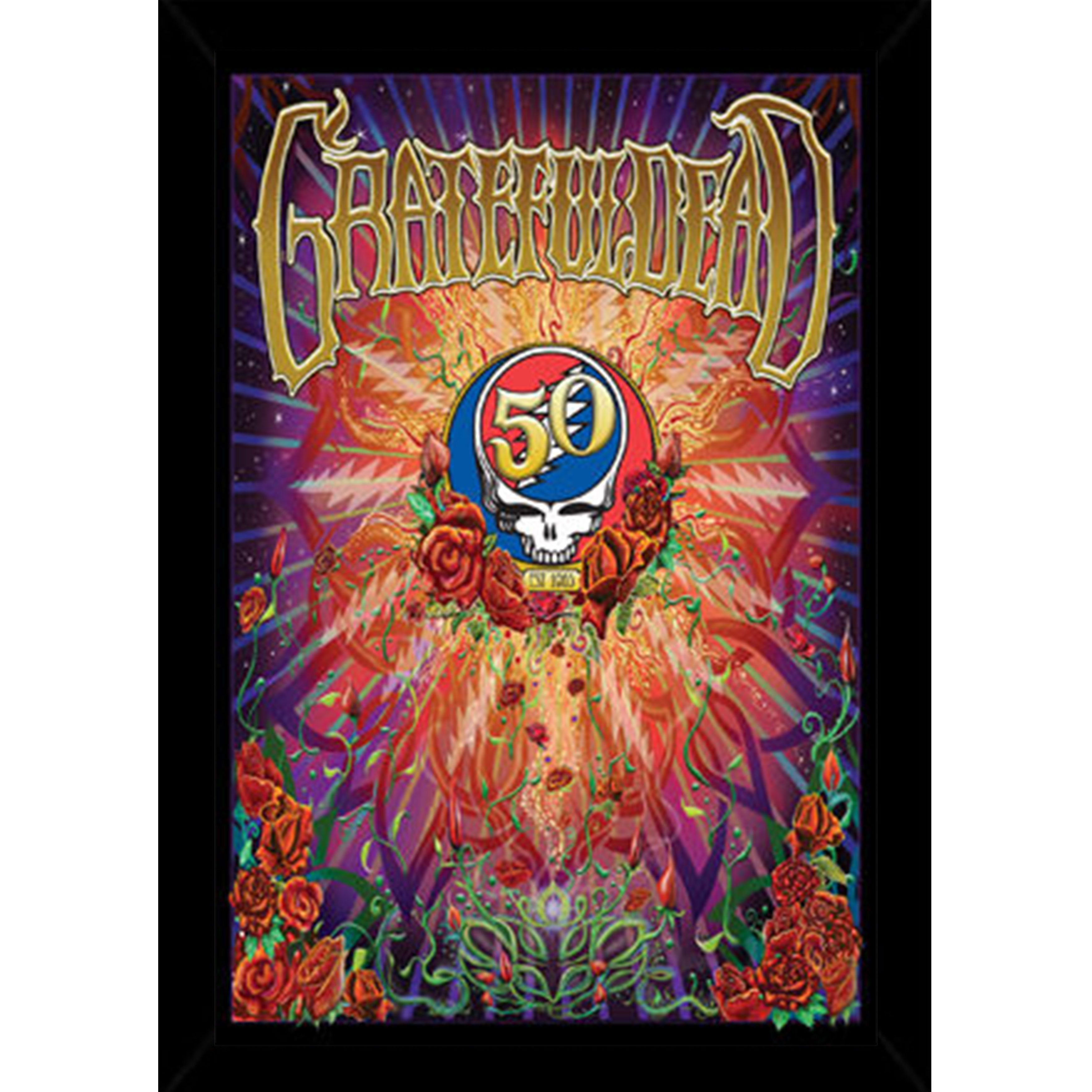 Grateful Dead - 50th Anniversary Print with Traditional Black Frame ...