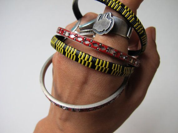 Colorful Vintage African Woven & Indian Mirrow Bracelet Bangles, Yellow - Black - Red, Stackable, Bright Multi Color, Upcycled Ethnic Tribal on Etsy, $28.00