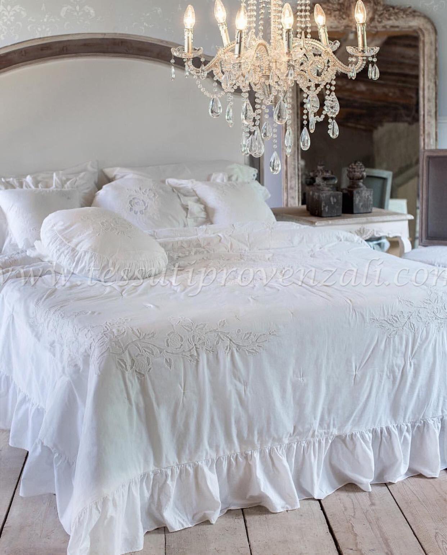 Copripiumino Blanc Mariclo.Trapunta Matrimoniale Shabby Chic Serie Quot Rugea Quot Blanc