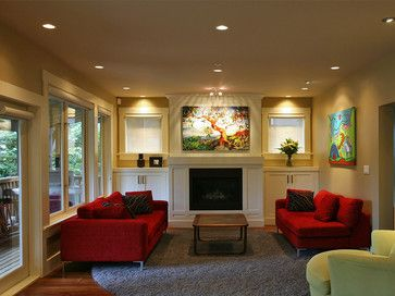 Red Couch Gray Carpet Tan Walls Design Ideas Pictures