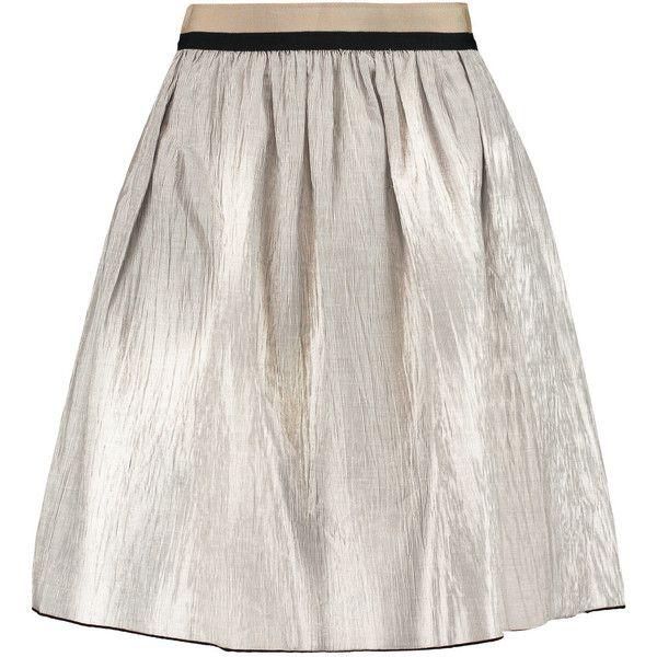 Rag & bone Svea grosgrain-trimmed striped linen-blend skirt (£156) ❤ liked on Polyvore featuring skirts, grey, gray skirt, grey striped skirt, rag bone skirt, zipper skirt and knee high skirts