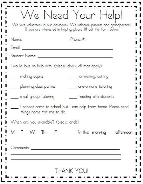 Parent Volunteer Form  Parent Involvement Ideas