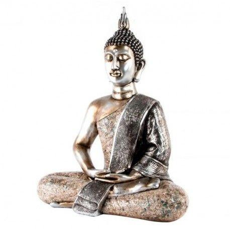 3257d71f5a9 Figura decorativa Buda resina nácar plata envejecido