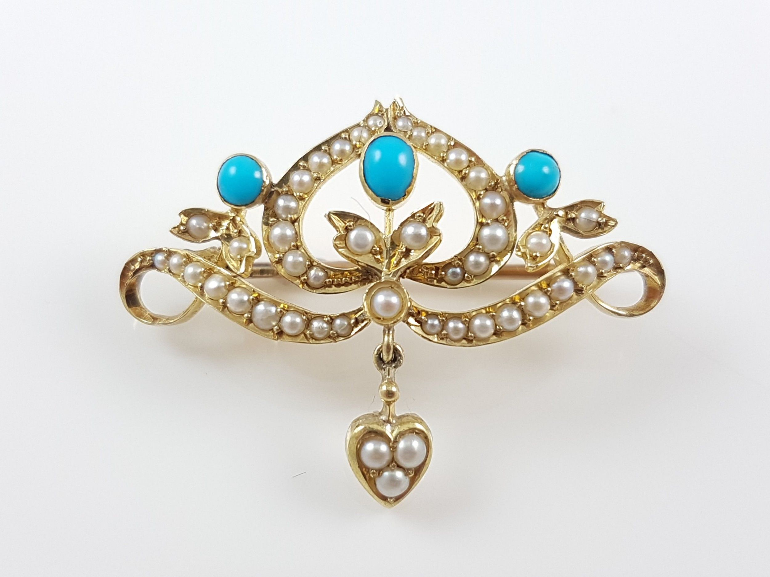 turquoise and seed pearl brooch and earrings 1950s gold