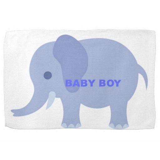 Blue Baby Boy Elephant Hand Towels