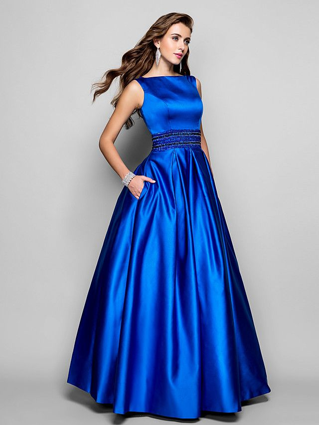 A Line Boat Neck Floor Length Satin Formal Evening Dress With
