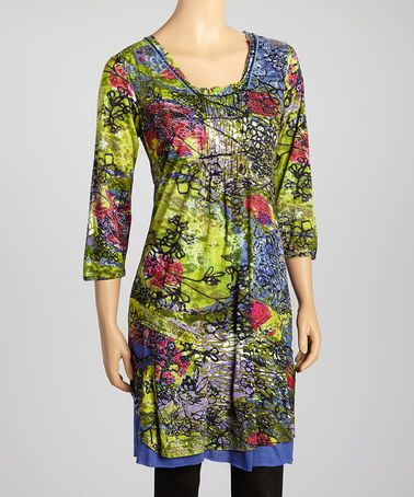 Take a look at this Green Floral Three-Quarter Sleeve Dress by Lazy Daisy on #zulily today!