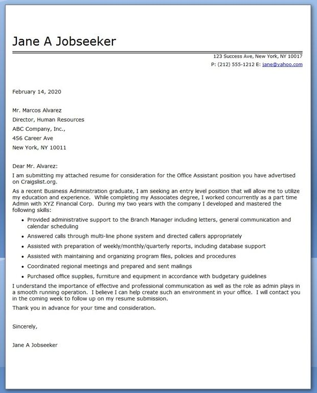 office assistant cover letter sample - Sample Resumes For Receptionist Admin Positions