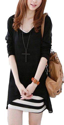 T-shirt Long Sleeve Stitching Chiffon Stripe Vest Dress Two-piece sets Vangood,http://www.amazon.com/dp/B00E9V4L1K/ref=cm_sw_r_pi_dp_5bTzsb17TTN38GB1