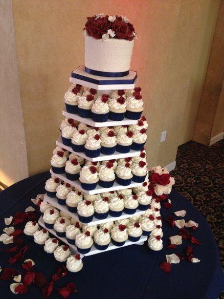 Navy And Burgundy Wedding Navy Burgundy Wedding Cupcakes By