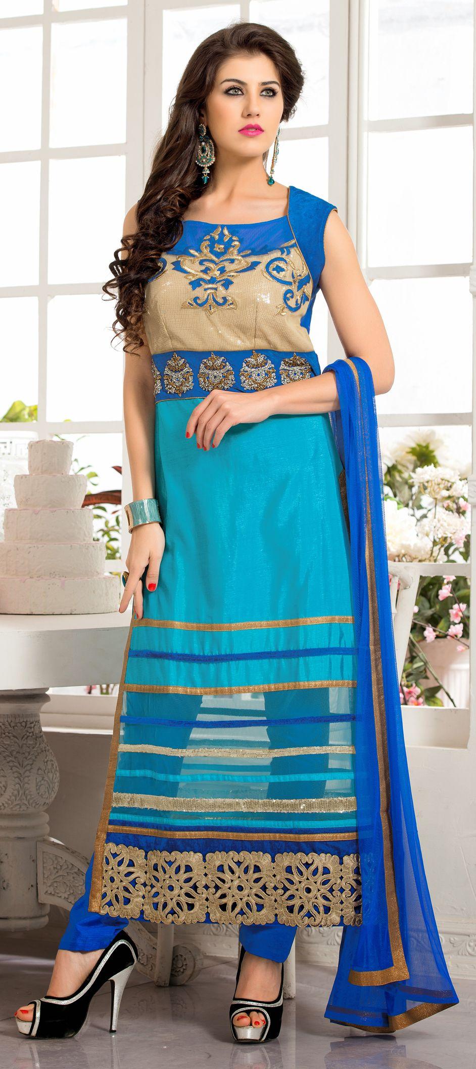 blue color family stitched party wear salwar kameez m