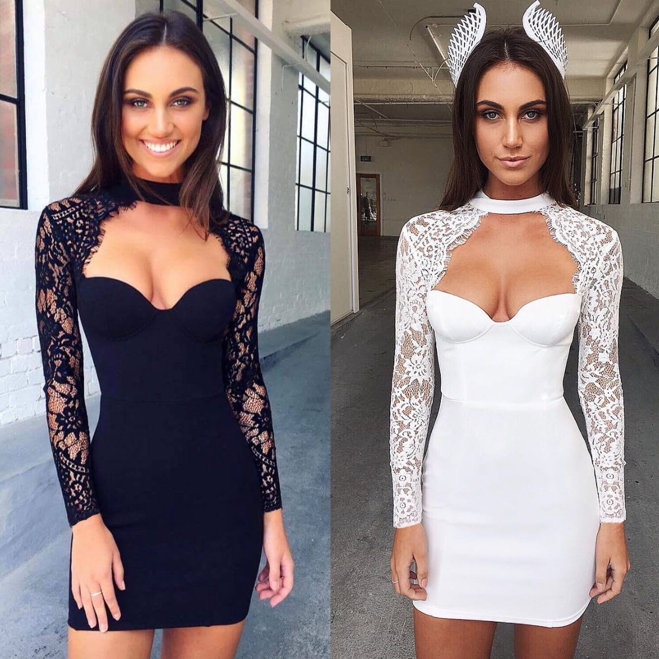 Fashion long sleeve short lace dress prom evening party cocktail