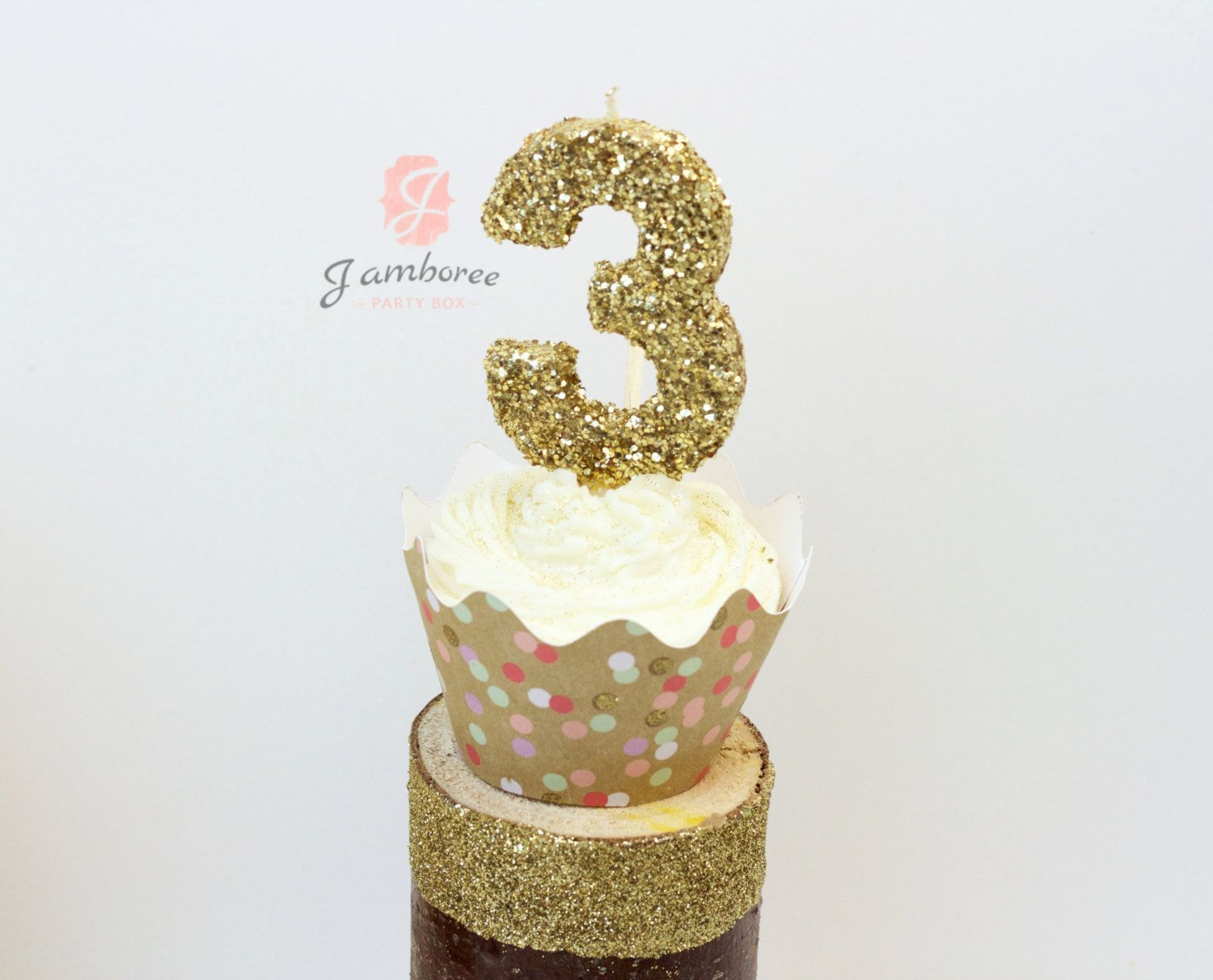 3 Glitter Number Birthday Candle Giant Third Large Gold Or Pink Three 550 USD By