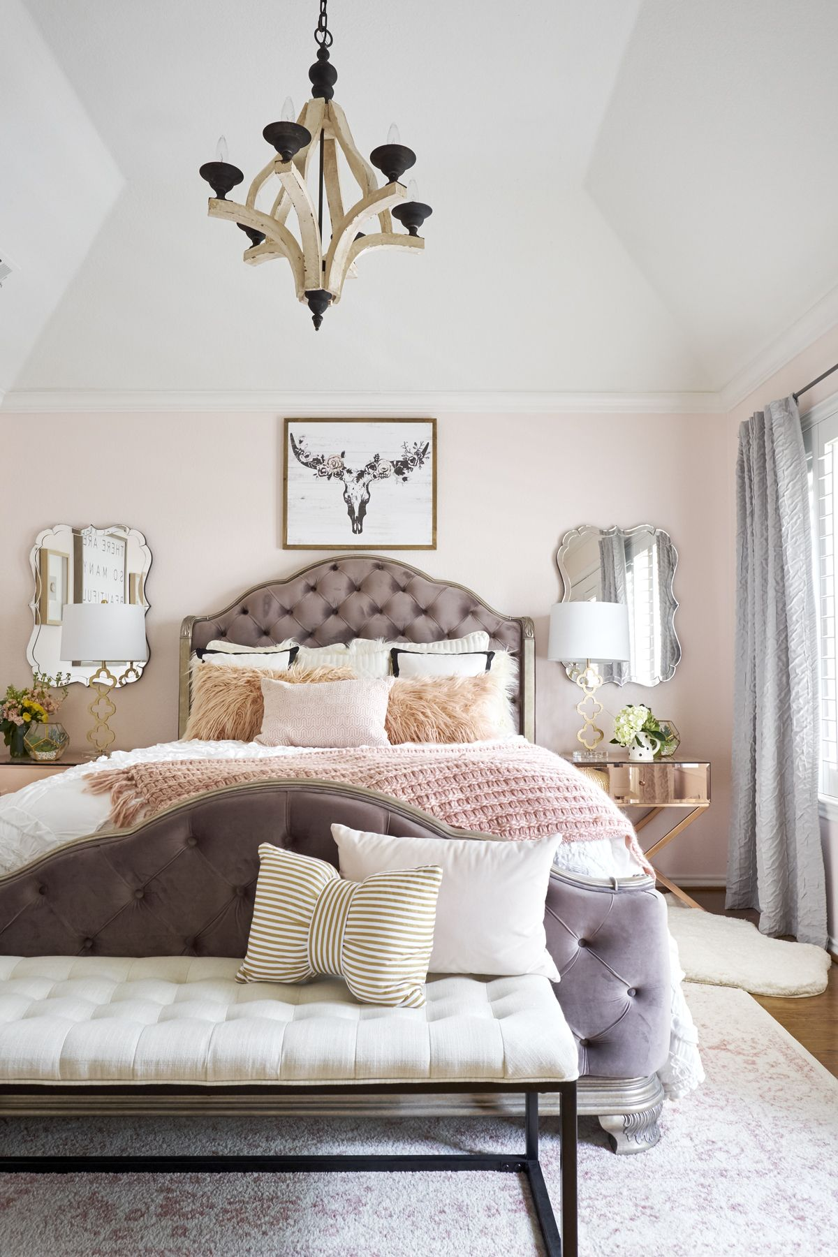 Master Bedroom Blush Pink And Rose Gold Courtney Warren Home Luxurious Bedrooms Pink Bedroom Decor Pink Master Bedroom