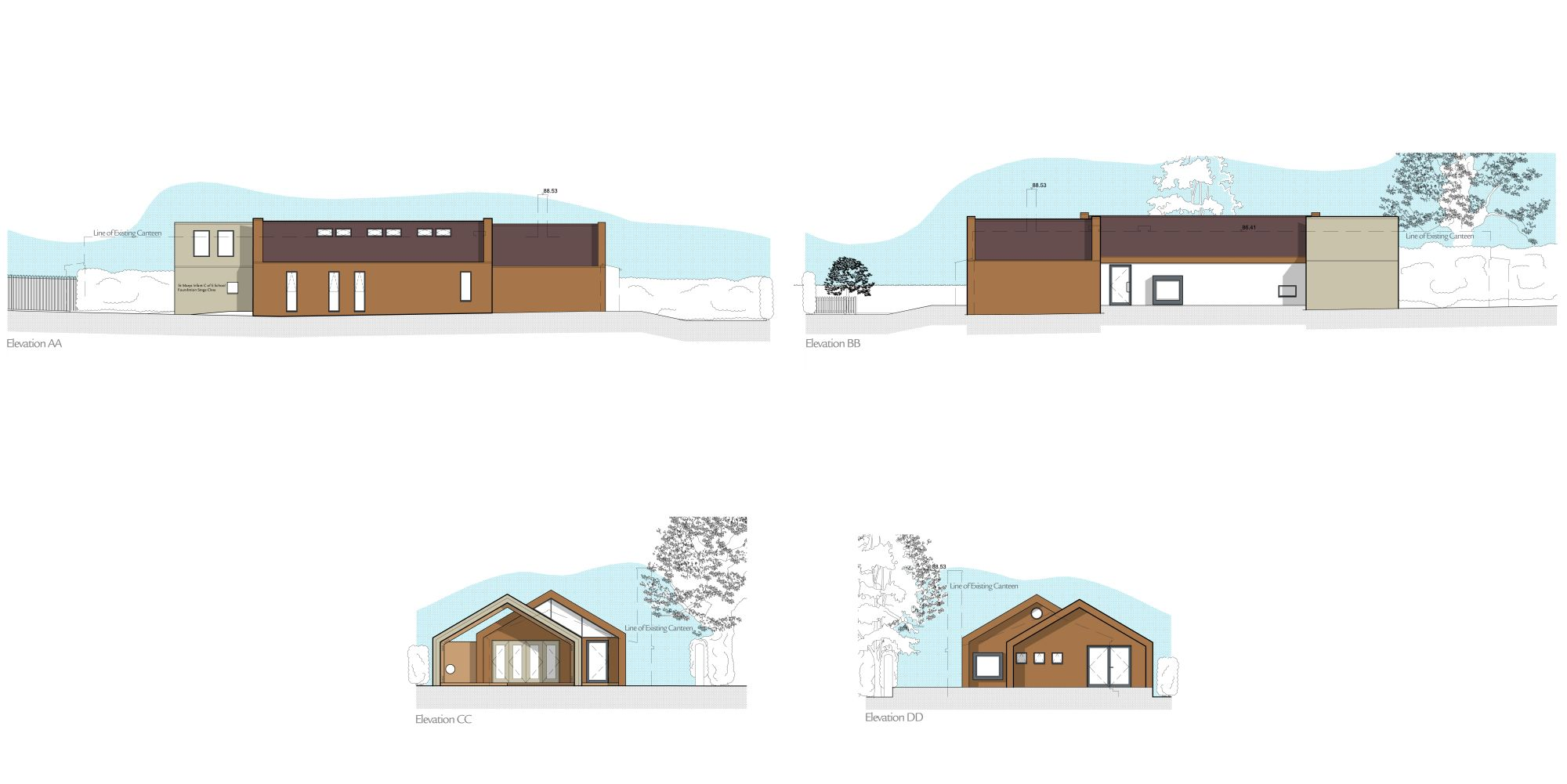 Interior design friendly school plan and sketch of elevation also layout information in contemporary children