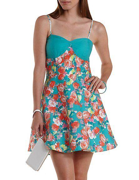 f51dc098c6c7 Color Block Floral Skater Dress  Charlotte Russe  floral  dress Blue Dresses