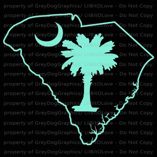 Palmetto State Souh Carolina White or Pink Vinyl Decal Sticker