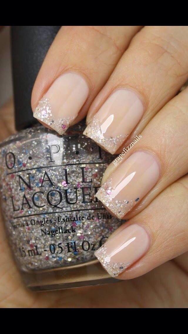 Uñas con punta escarchada 1 | Uñas | Pinterest | Diseños de uñas ...