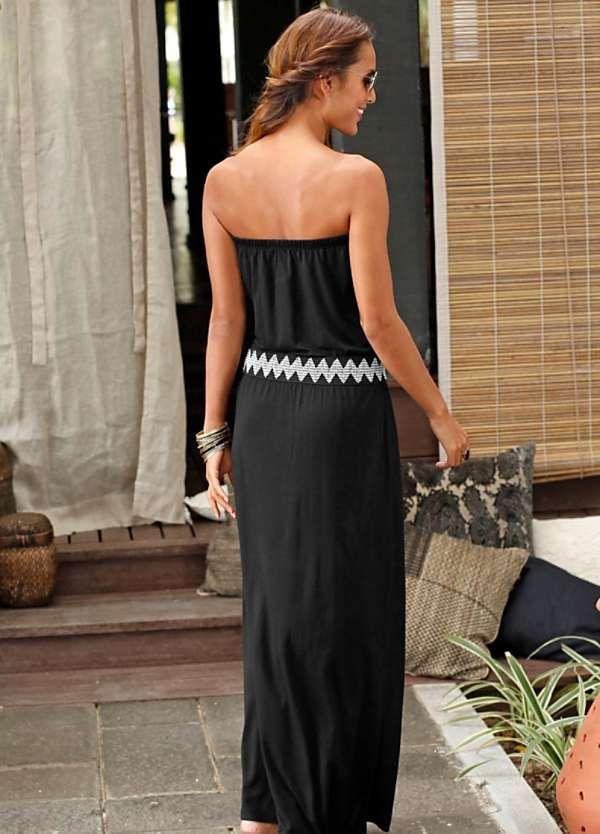 b75ea2ad02 Black Bandeau Maxi Dress by LASCANA in 2019   Me fashion   Black ...