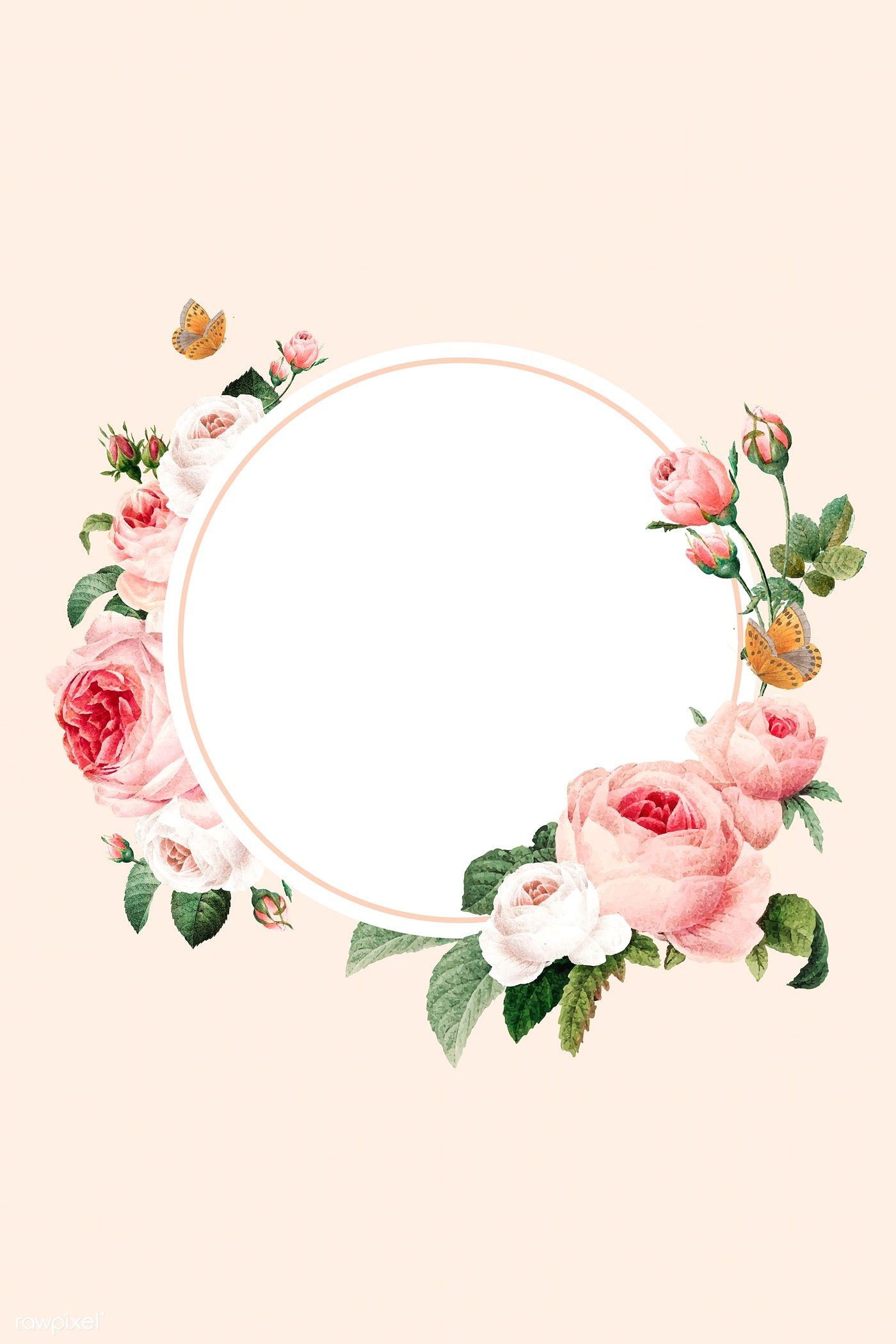 Download Premium Vector Of Blank Floral Round Frame Vector 1216054 Pink And White Background Rose Frame Pink Background