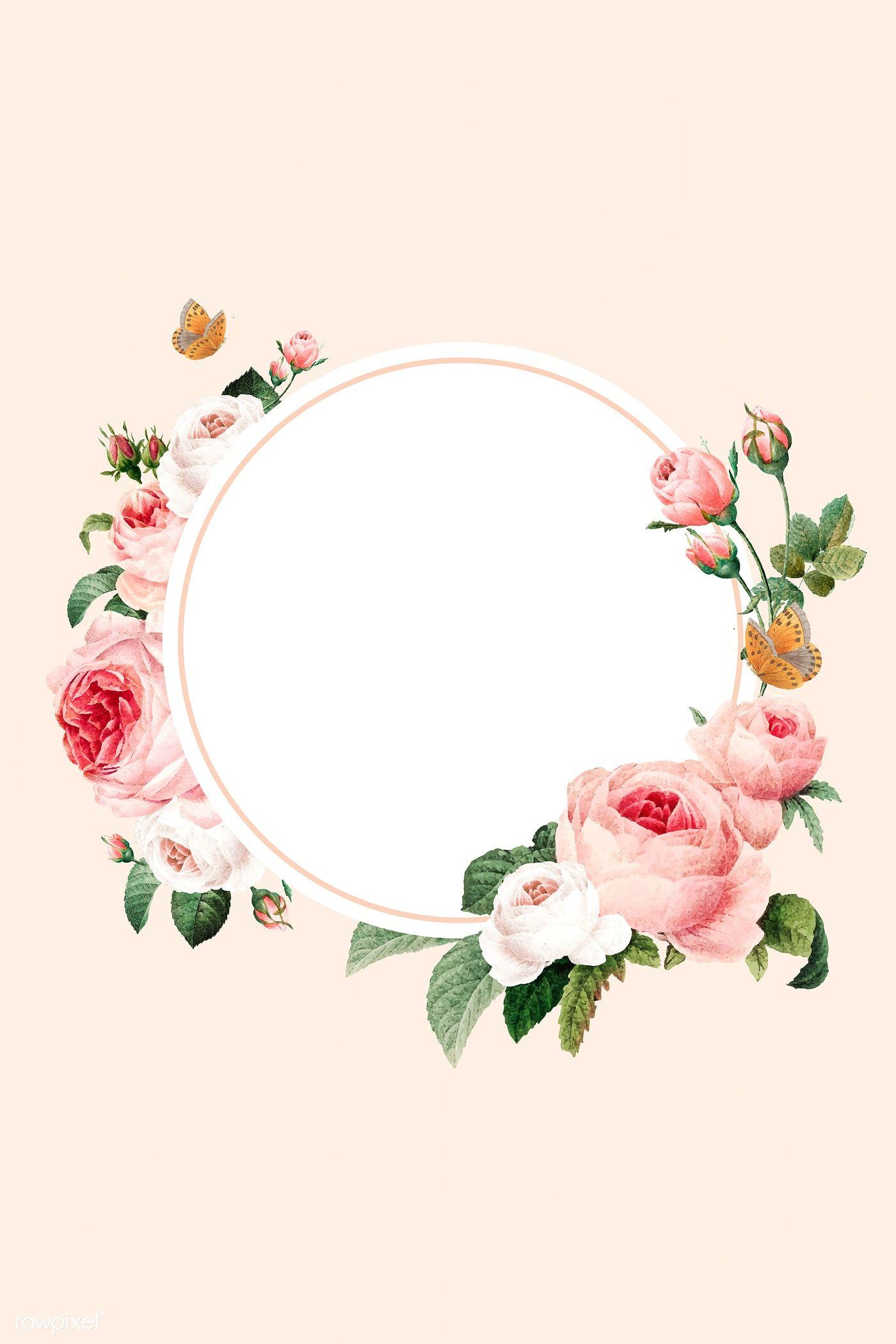 Download Premium Illustration Of Blank Floral Round Frame Vector