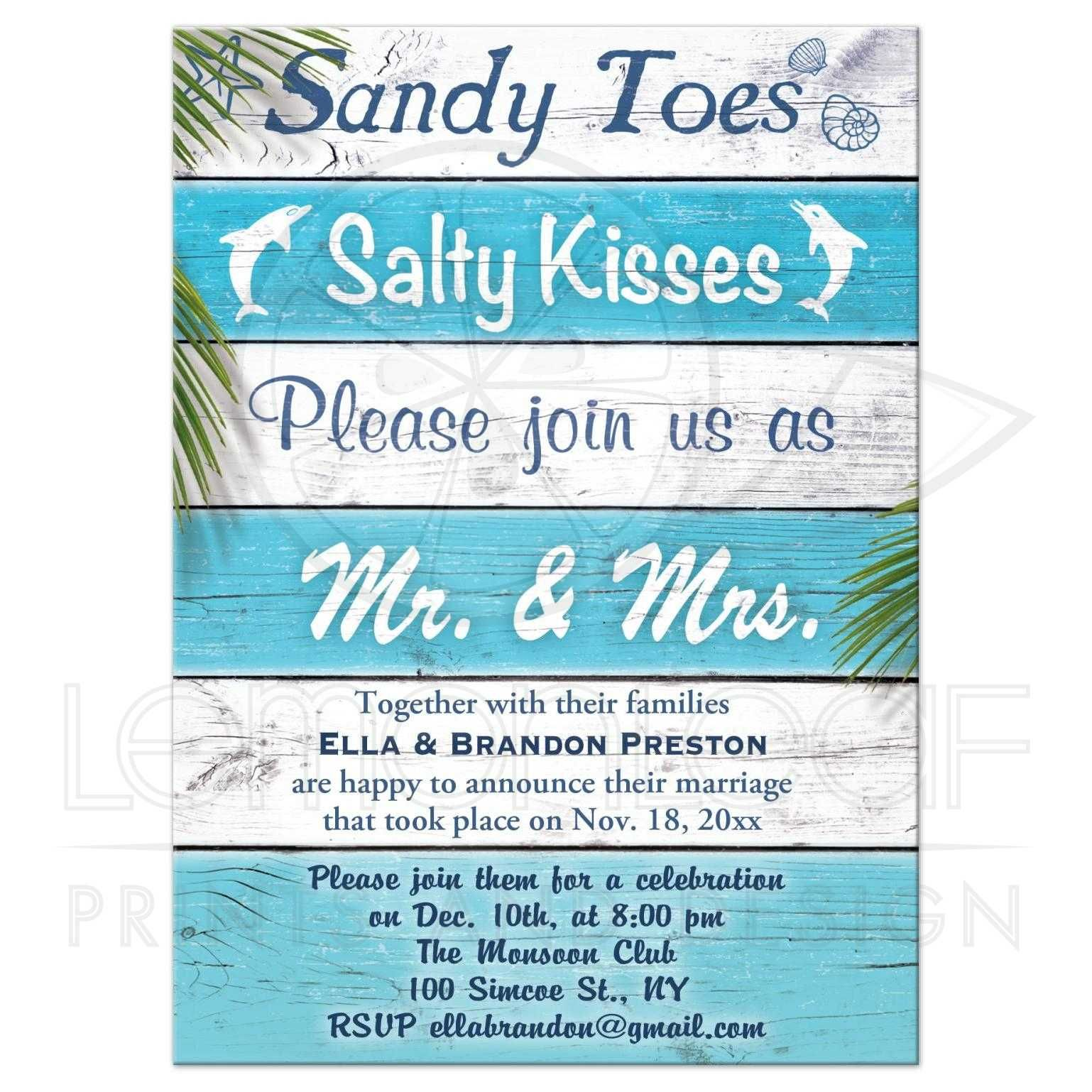 post wedding reception invitations Post Wedding Reception Turquoise Beach Sandy Toes Salty Kisses
