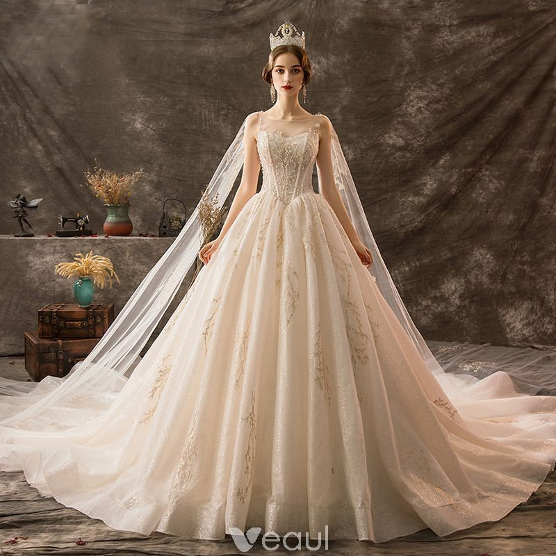 Luxury / Gorgeous Champagne Wedding Dresses 2019 A-Line / Princess Scoop Neck Beading Crystal Lace Flower Sequins Sleeveless Backless Watteau Train Royal Train