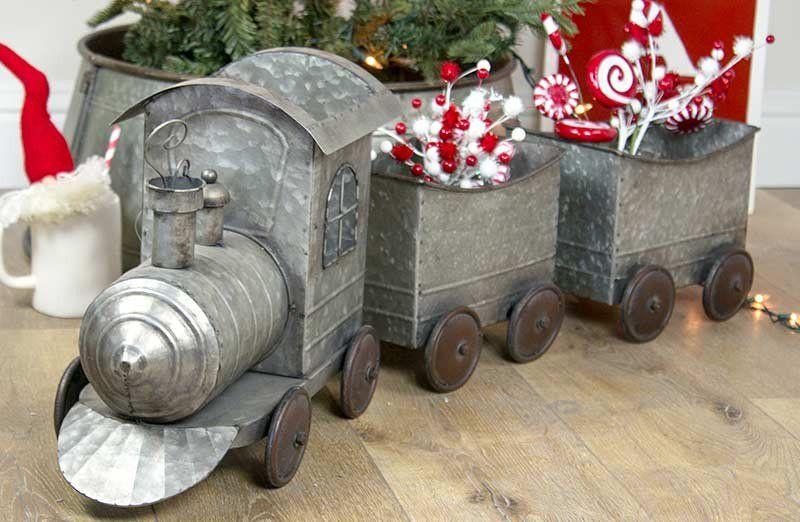 Huge Galvanized Train Train Decor Farmhouse Christmas Christmas Train