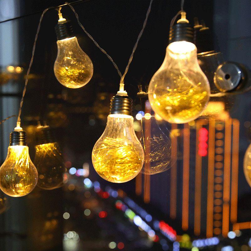 4m LED Fairy Lights 10 Bulbs Battery Globe String Lights Home Room Vintage Decor