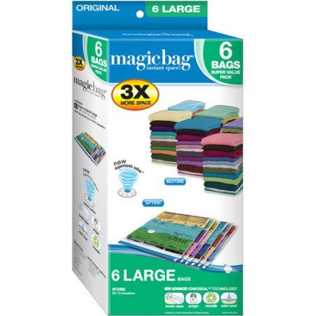 Space Saver Bags Walmart Awesome Magicbag Original Large Instant Space Storage Bags 6Pk Clear 2018