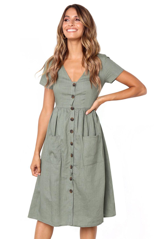 Green Front Button Pockets Stylish Midi Dress With Midi Short Sleeve Dress Short Sleeve Dresses Mid Dresses [ 1500 x 1000 Pixel ]