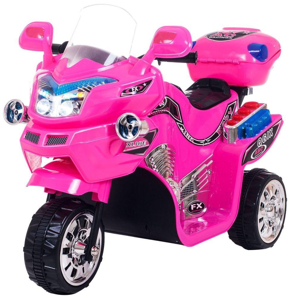 girls lil rider ride on pink toy three wheeler motorcycle kids car police motor