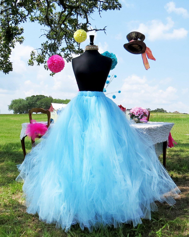 Falda de tul de luz azul largo perfecta para disfraces de adultos ...
