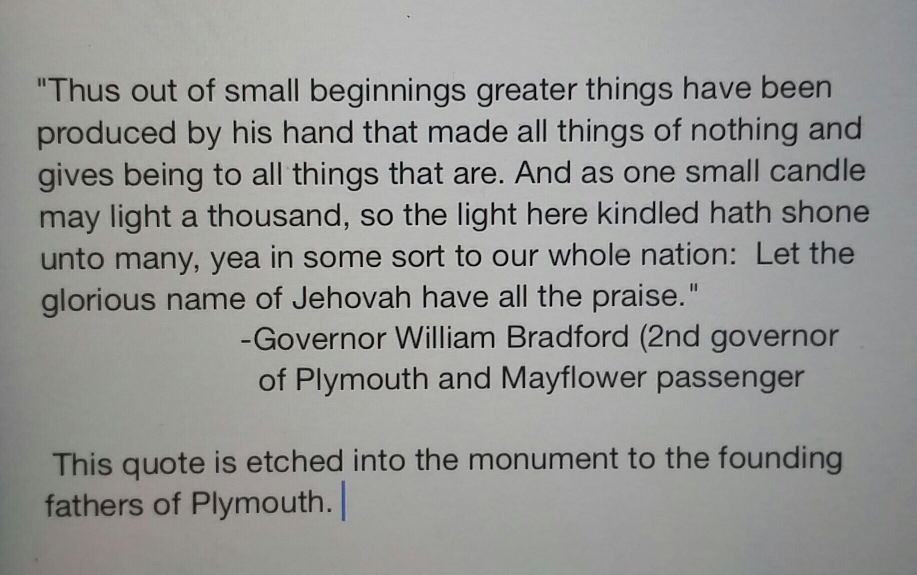 I thought this was so interesting. I typed it out because of possible copyright infringement posting something not my own.....but Google the monument and see for yourself. Jehovah's name was very well known here in the US by the people who came from Europe searching for religious freedom.