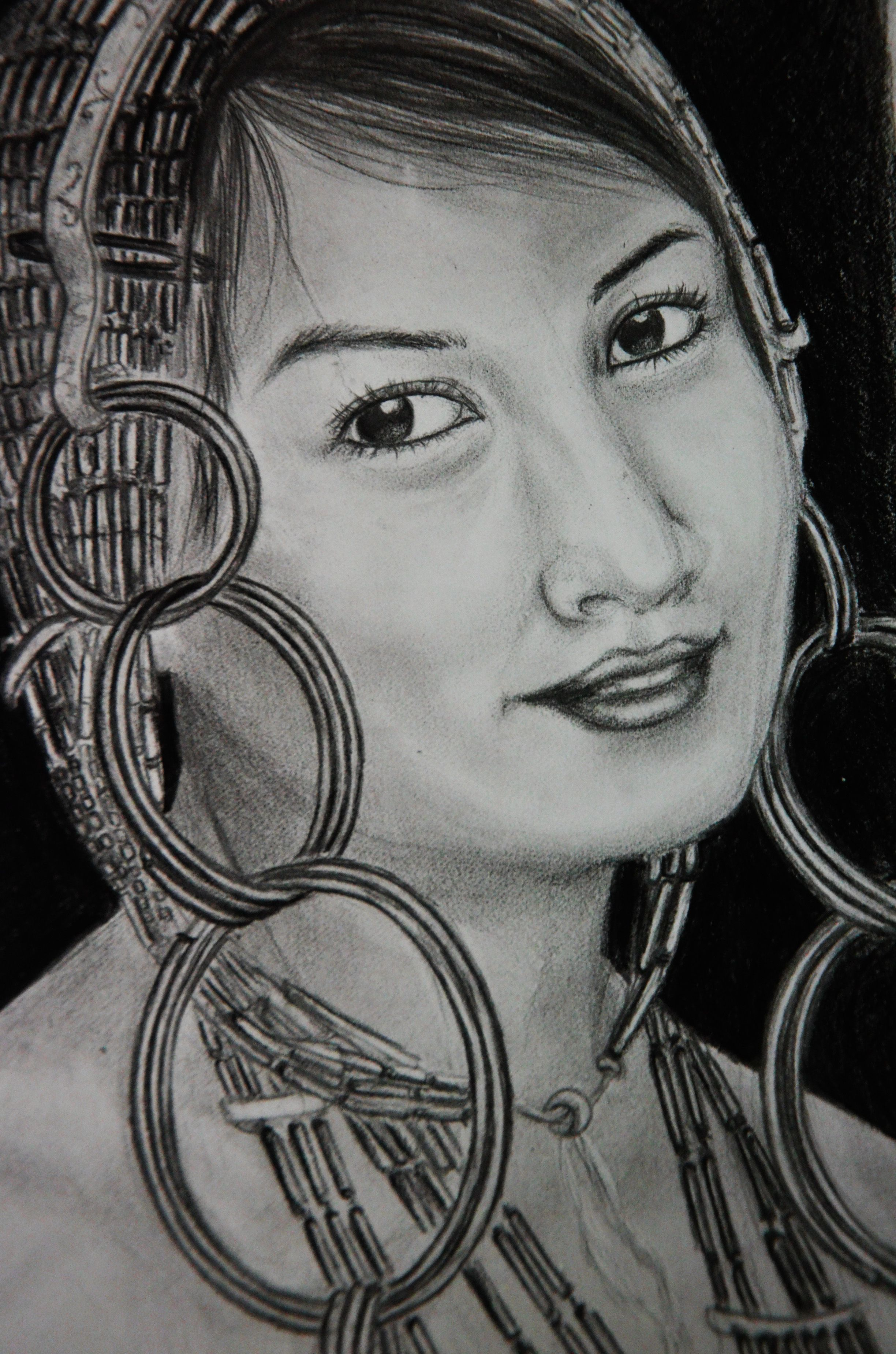 A tangkhul lady in traditional attire traditional lady sketches painting drawings