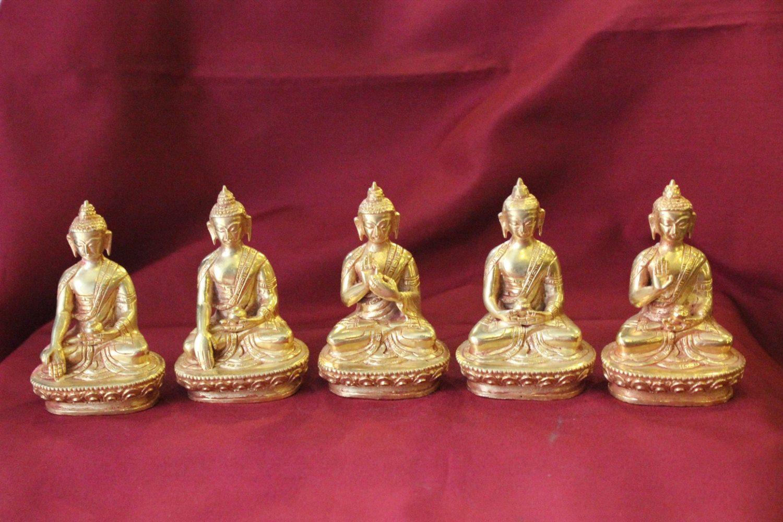 Five Dhyani Buddha Statue Full Gold Tibetan Handmade in Nepal by ShakyaHandicraft on Etsy