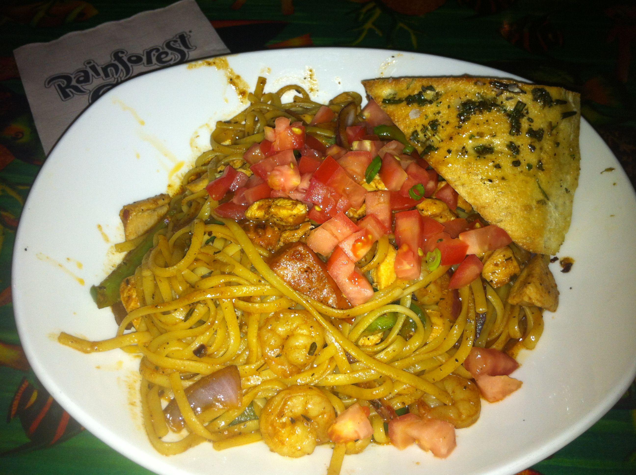 Pastalaya at The Rainforest Cafe in Atlantic City NJ.