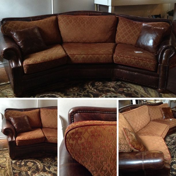Texas Leather Furniture   Fabric/ Leather Sofa W/ 2 Pillows   $1708.95