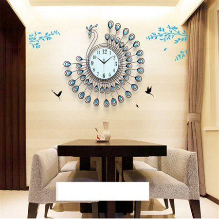 21 Inch Fashion Large 3d Diamonds Decorative Metal Peacock Wall