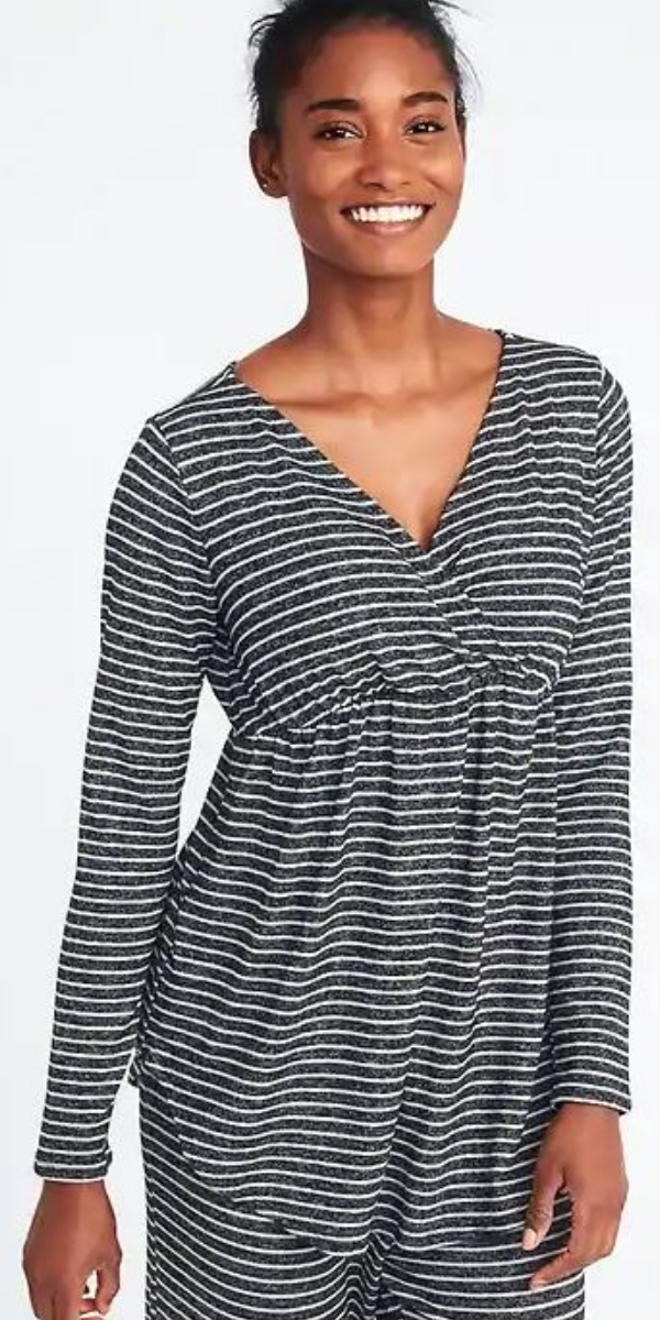 ae2062f562c Maternity Plush-Knit Surplice Sleep Top New Black Stripe - Wrap-front  surplice detail at bodice for easy, discreet nursing. #breastfeeding # nursing #ad