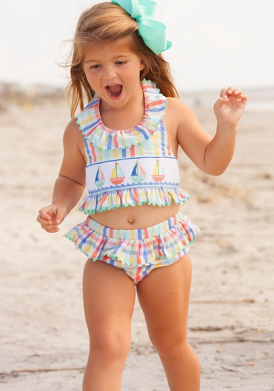 43cf83baf595e sailboat bathing suit two piece smocked plaid | Mama Nat | Girls ...