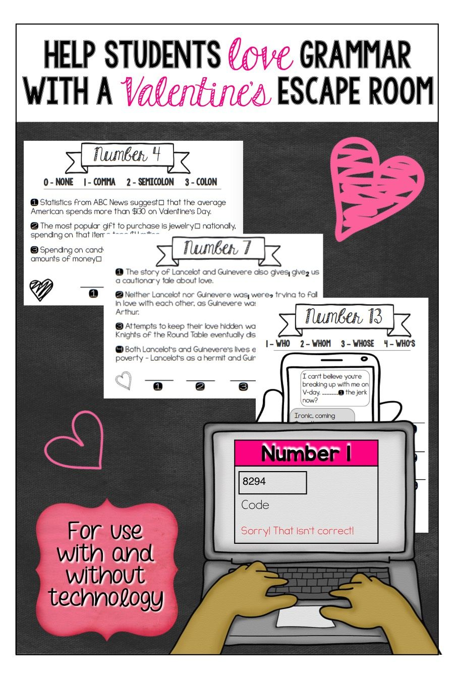Valentine S Day Grammar Escape Room Teaching Quotes Teaching Inspiration Escape Room [ 1350 x 900 Pixel ]